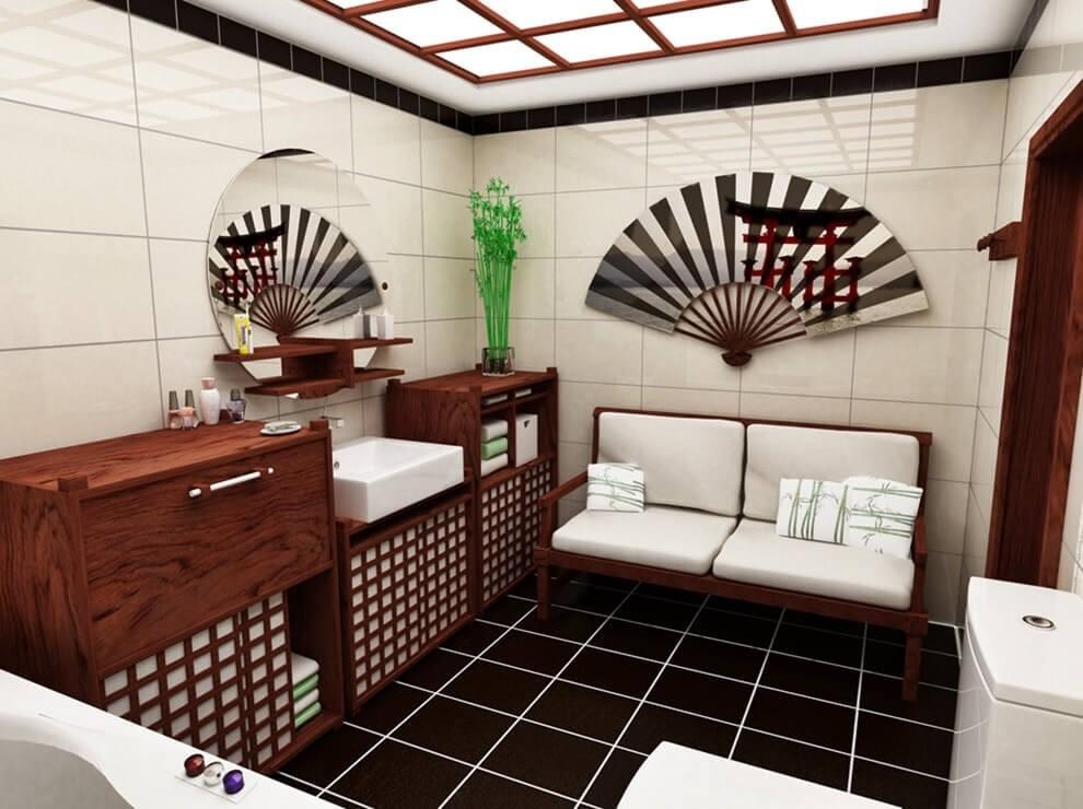 Пример дизайн проекта ванной в японском стиле Черновцы