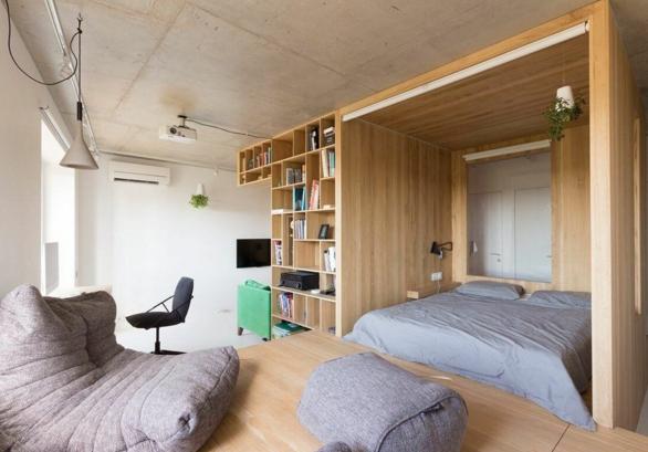 Пример дизайн интерьера гостиной в квартире в стиле минимализм Черновцы