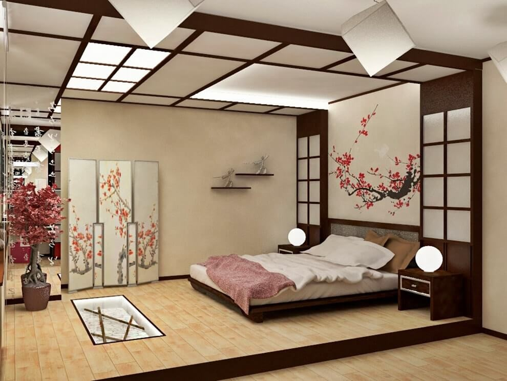 Пример дизайн проекта спальни в японском стиле Черновцы